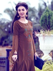 Brown Embroidered Fancy Fabric Party Wear Kurti
