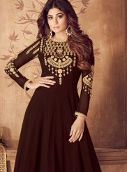 Brown Embroidered Georgette Anarkali Salwar Suit