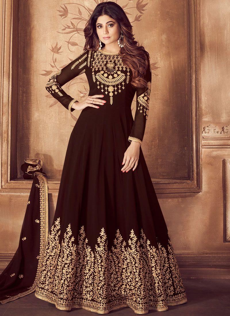 Brown Embroidered Georgette Anarkali Salwar Suit