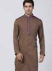Brown Embroidered Kurta Pyjama
