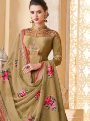Brown Embroidered Party Designer Gown