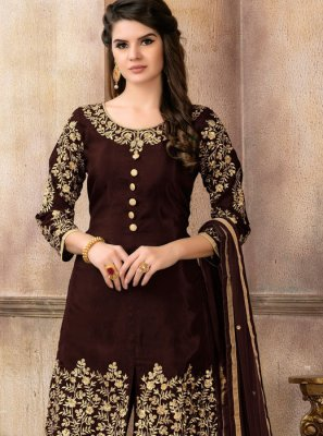 Brown Embroidered Party Designer Pakistani Suit