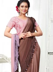 Brown Embroidered Party Shaded Saree