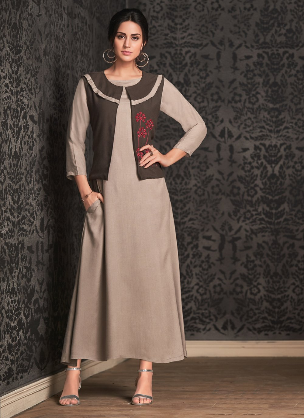 Brown Embroidered Party Wear Kurti