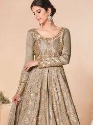 Brown Embroidered Satin Silk Trendy Anarkali Salwar Suit