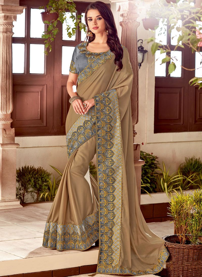 Brown Embroidered Traditional Saree