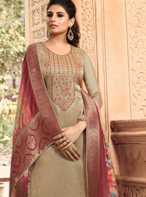 Brown Embroidered Tussar Silk Palazzo Suit