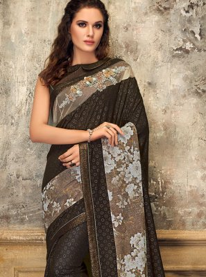 Brown Fancy Lycra Designer Saree