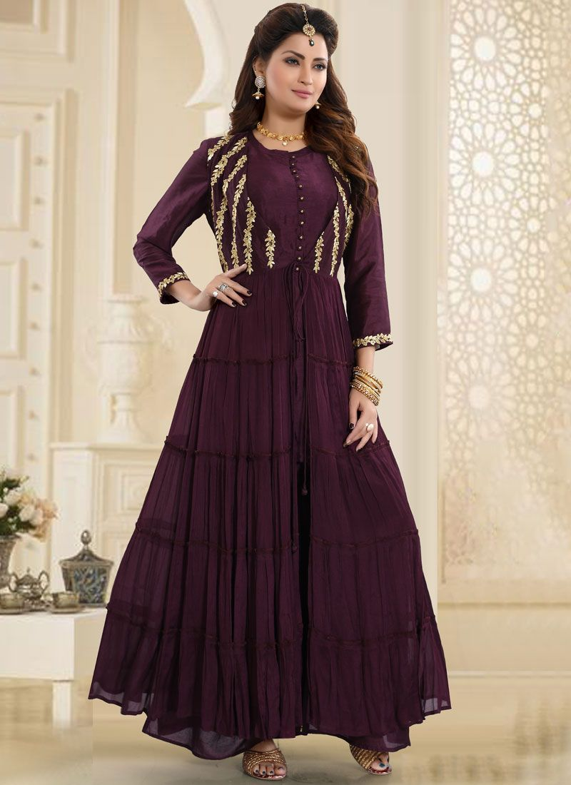 Brown Faux Chiffon Embroidered Readymade Suit