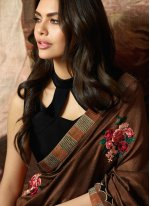 Brown Faux Chiffon Party Traditional Designer Saree