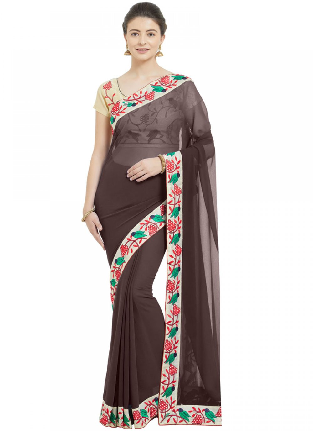 Brown Faux Chiffon Patch Border Casual Saree