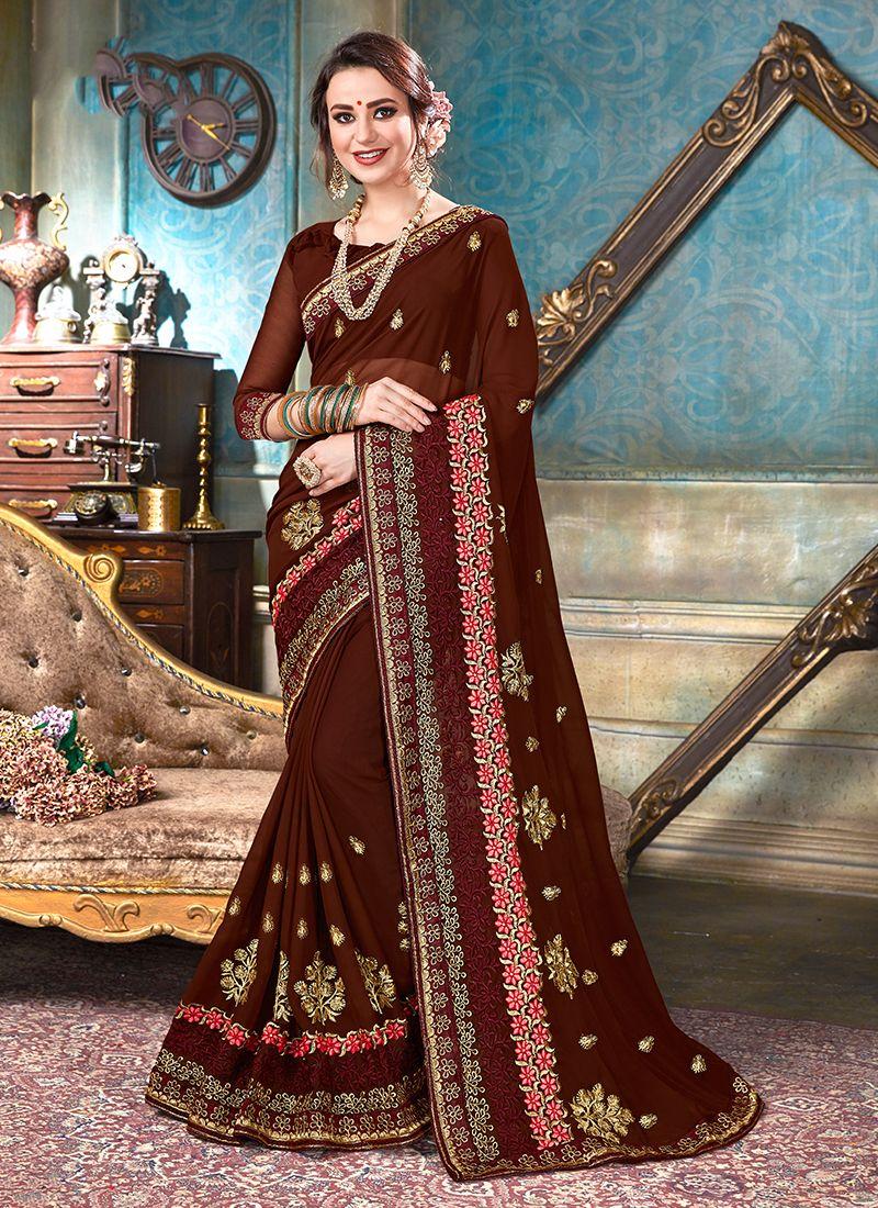 Brown Faux Georgette Classic Designer Saree