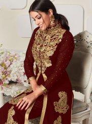 Brown Faux Georgette Designer Salwar Kameez