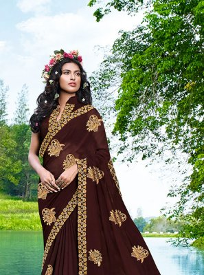 Brown Faux Georgette Embroidered Casual Saree