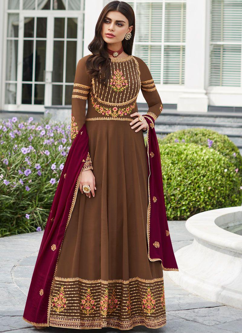 Brown Faux Georgette Festival Trendy Anarkali Salwar Kameez