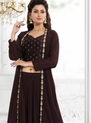Brown Faux Georgette Readymade Suit