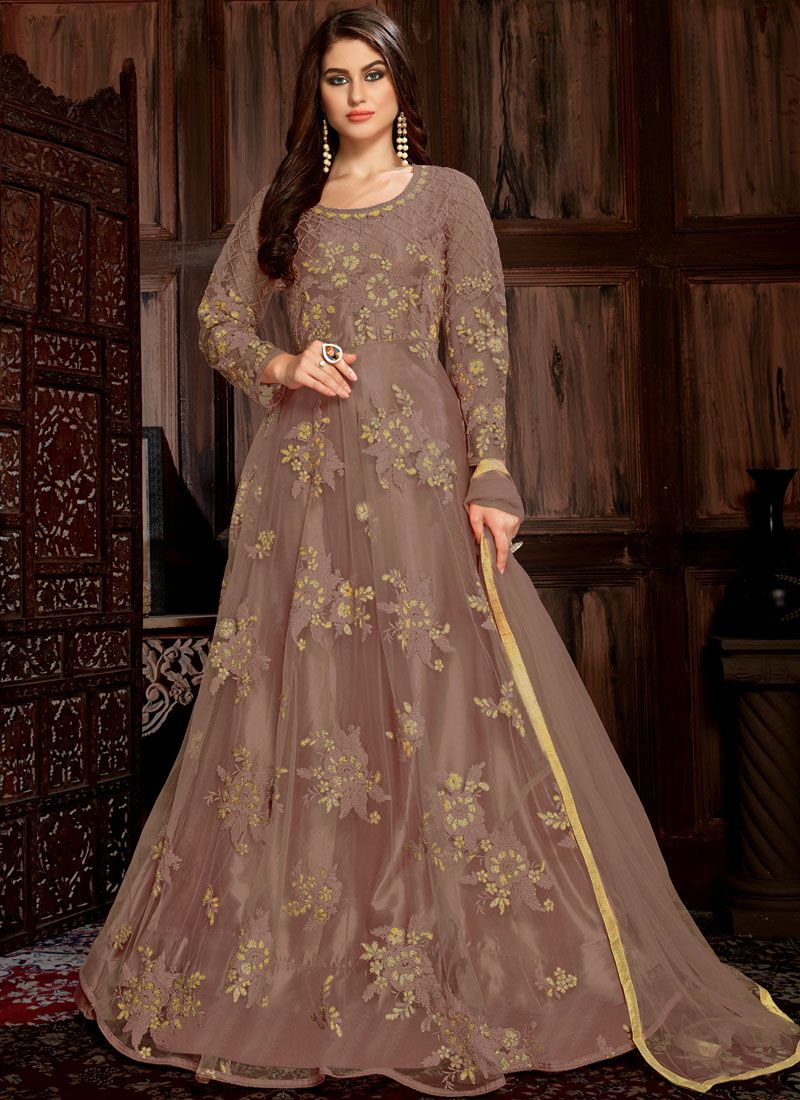 Brown Festival Anarkali Suit