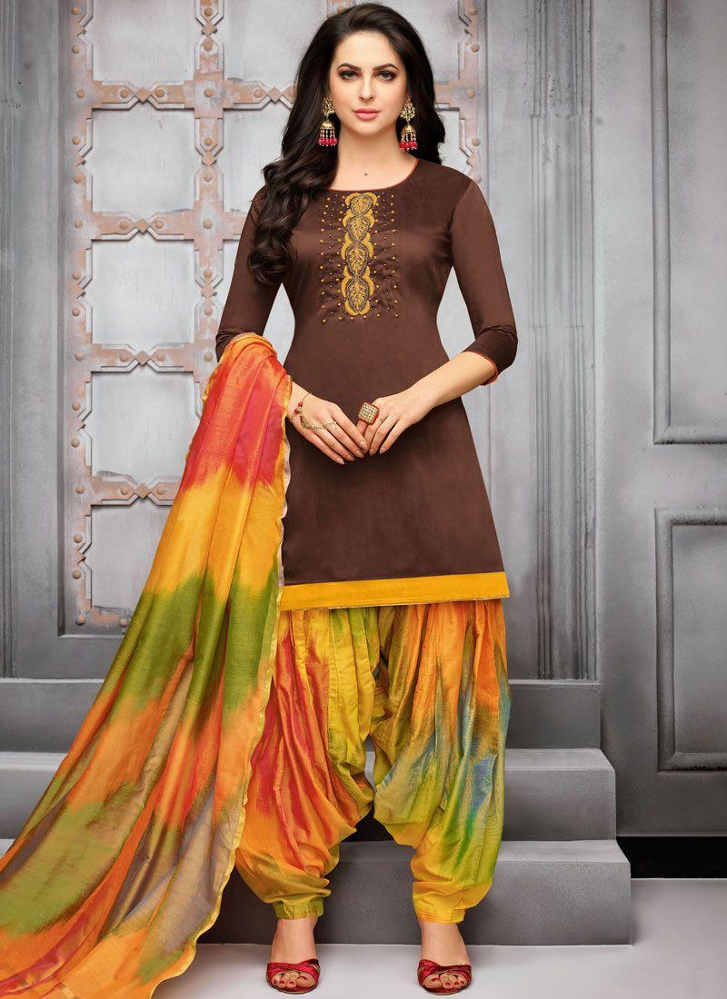 Brown Festival Art Silk Designer Patiala Suit