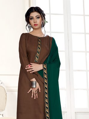 Brown Festival Designer Straight Suit