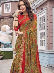 Brown Festival Faux Georgette Casual Saree
