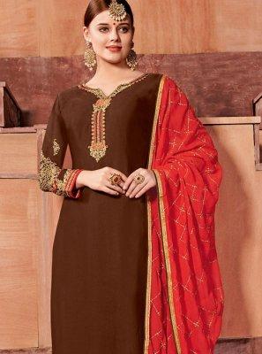 Brown Festival Faux Georgette Churidar Designer Suit