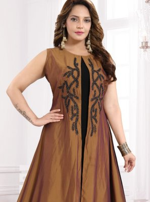 Brown Festival Faux Georgette Party Wear Kurti