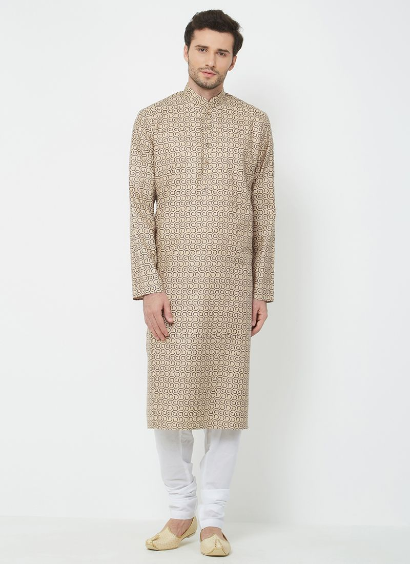 Brown Festival Linen Kurta Pyjama