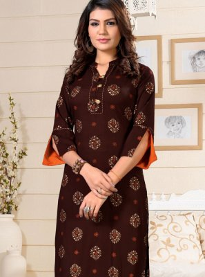 Brown Festival Party Wear Kurti
