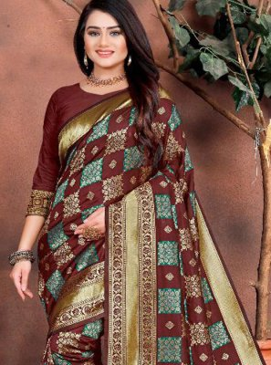 Brown Festival Silk Trendy Saree