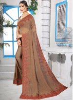 Brown Georgette Classic Saree