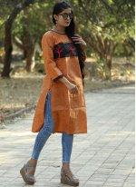 Orange Khadi Party Party Wear Kurti