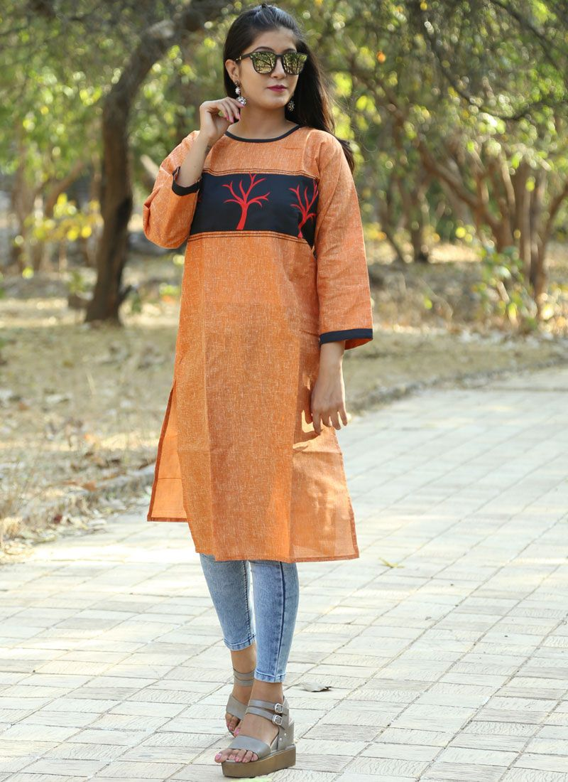 Brown Khadi Party Party Wear Kurti