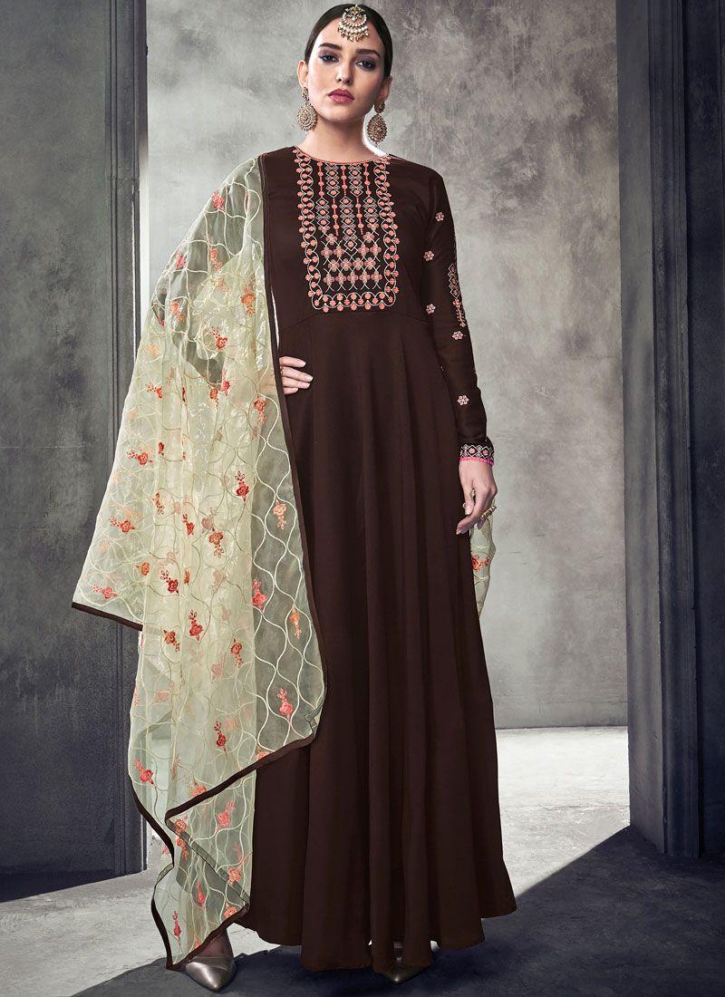 Brown Muslin Readymade Anarkali Suit