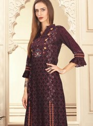 Brown Party Cotton Palazzo Designer Salwar Kameez