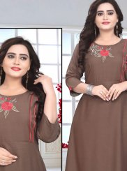 Brown Party Rayon Party Wear Kurti