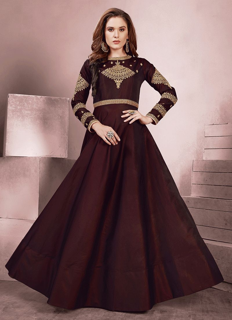 Brown Party Readymade Gown