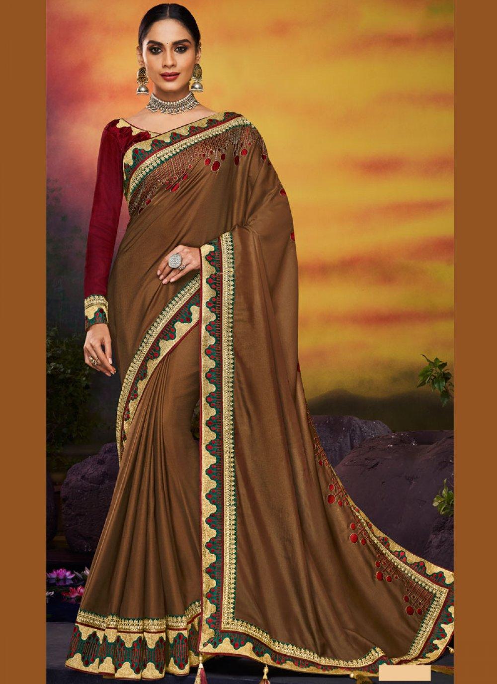 Brown Patch Border Art Silk Traditional Designer Saree