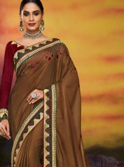 Brown Patch Border Art Silk Traditional Designer Saree