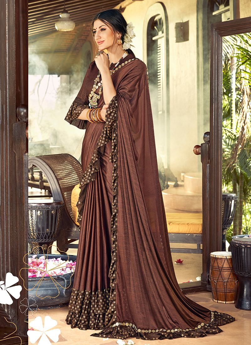 Brown Patch Border Classic Designer Saree