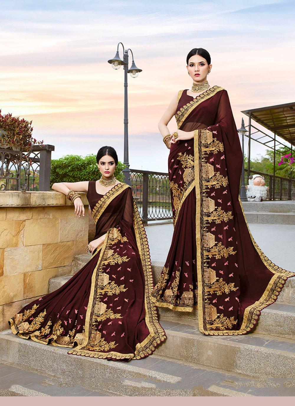 Brown Patch Border Classic Designer Saree