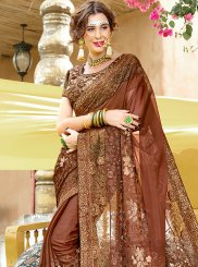 Brown Patch Border Faux Georgette Classic Designer Saree