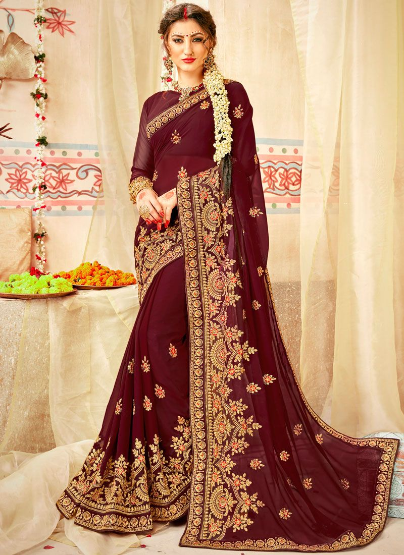 Brown Patch Border Saree