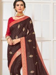 Brown Patch Border Traditional Designer Saree