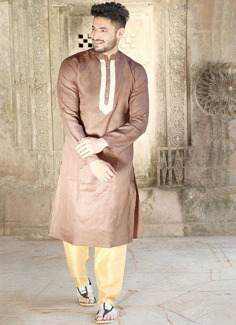 Brown Patchwork Kurta Pyjama