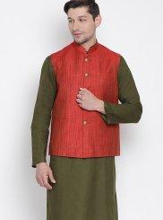 Brown Plain Kurta Payjama With Jacket