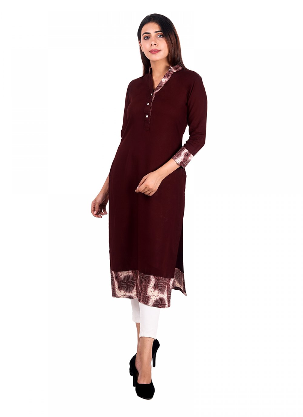 Brown Plain Rayon Casual Kurti