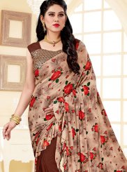 Brown Print Lycra Trendy Saree