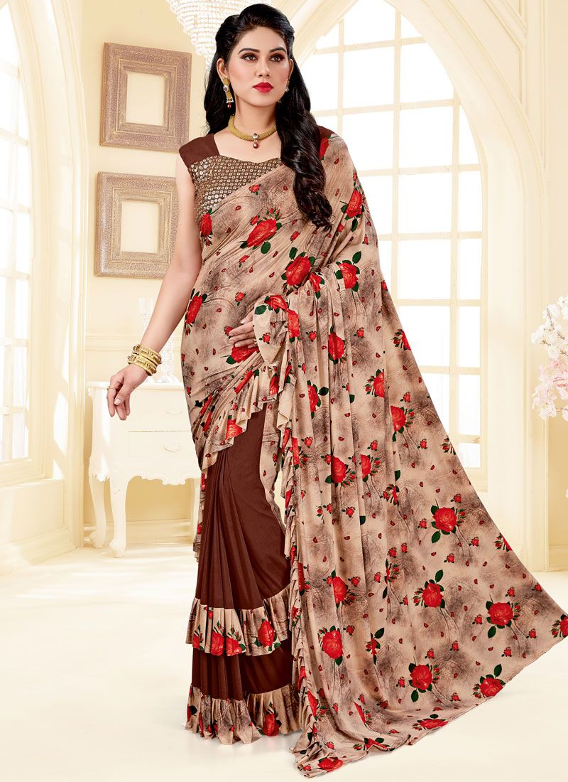 Brown Print Lycra Trendy Saree