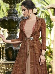 Brown Print Satin Silk Designer Gown
