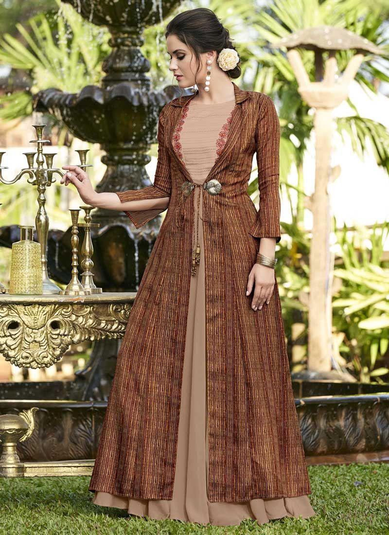 Brown Print Satin Silk Designer Gown